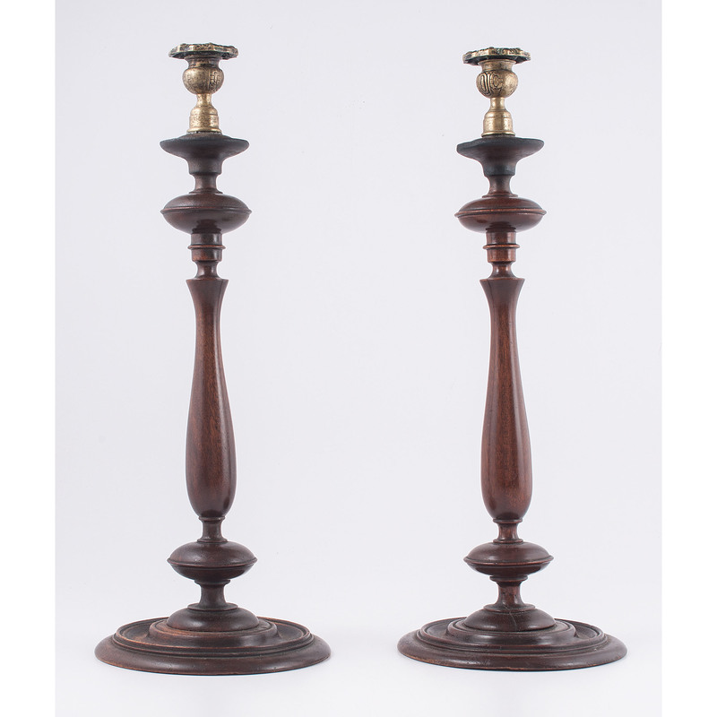 English Turned Wood Candlesticks with Brass Tops