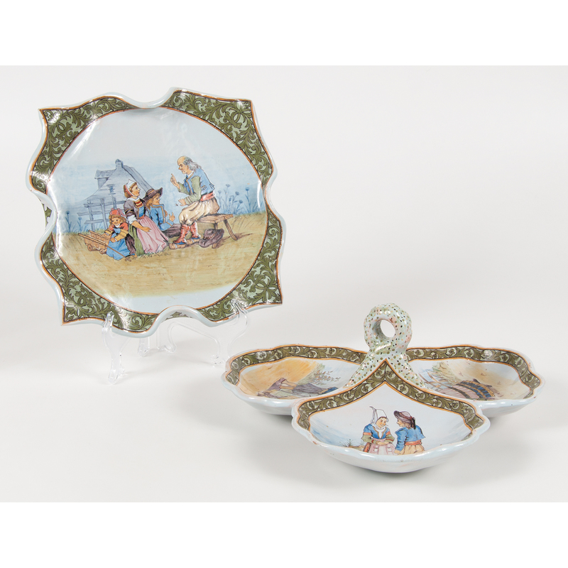 Quimper Platter and Three-Compartment Dish