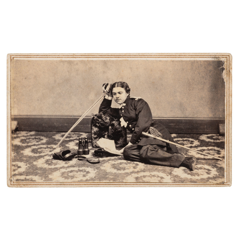 Civil War CDV of Reclining Lieutenant John Aiken Millard Jr., 1st New York Light Artillery