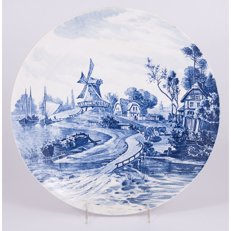 Delftware Plate with Windmill