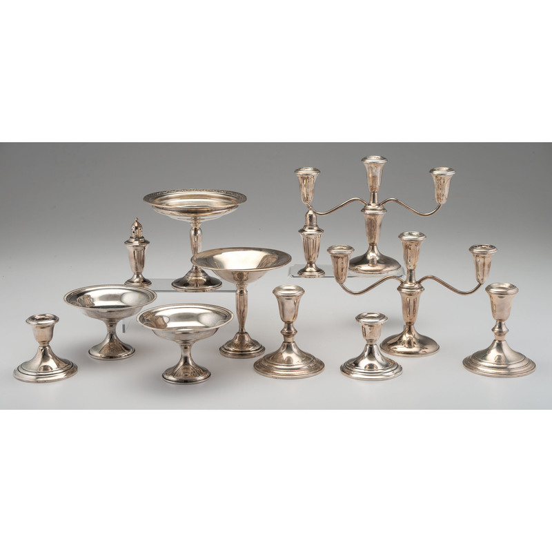 Weighted Sterling Candlesticks & Compotes