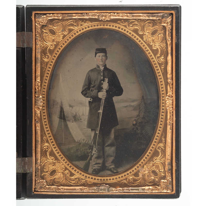 Civil War Half Plate Tintype of Armed Soldier Housed in American Country Life 2 Union Case