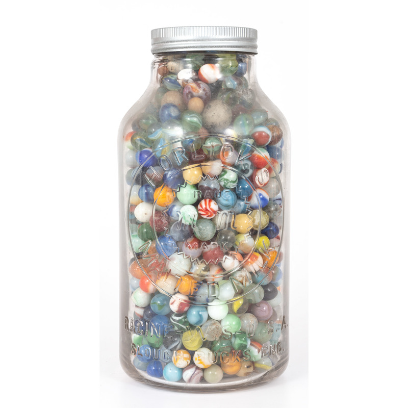 Vintage Marbles in Jar