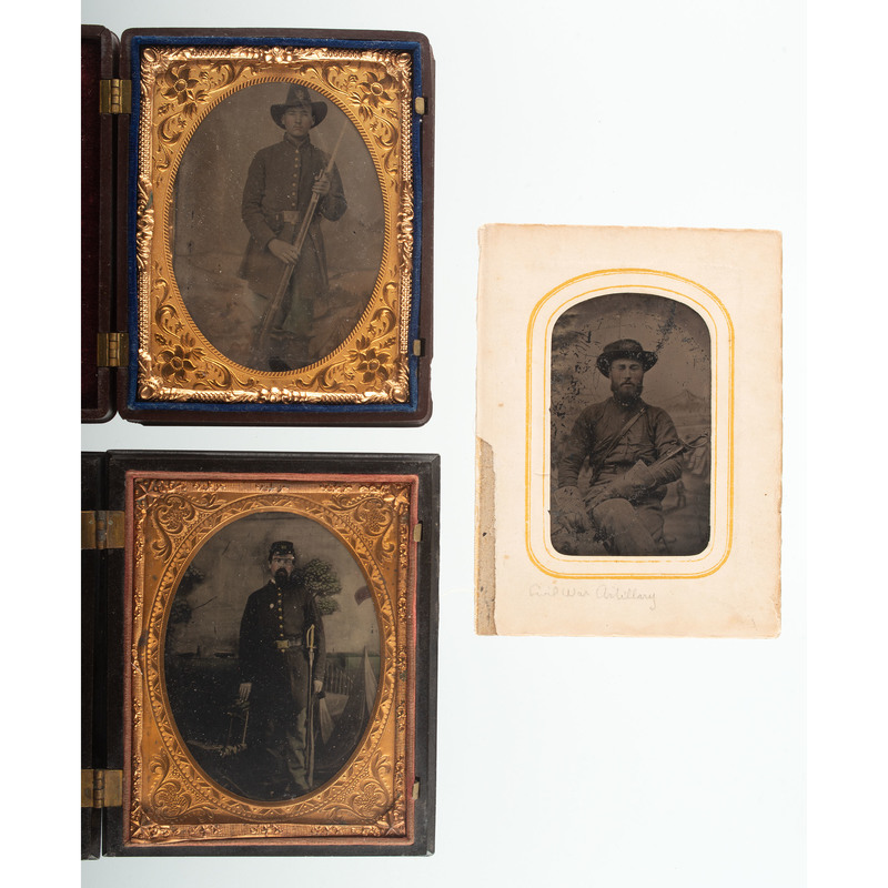Three Civil War Tintypes of Armed Artillerymen, One Housed in Capture of Major Andre Union Case