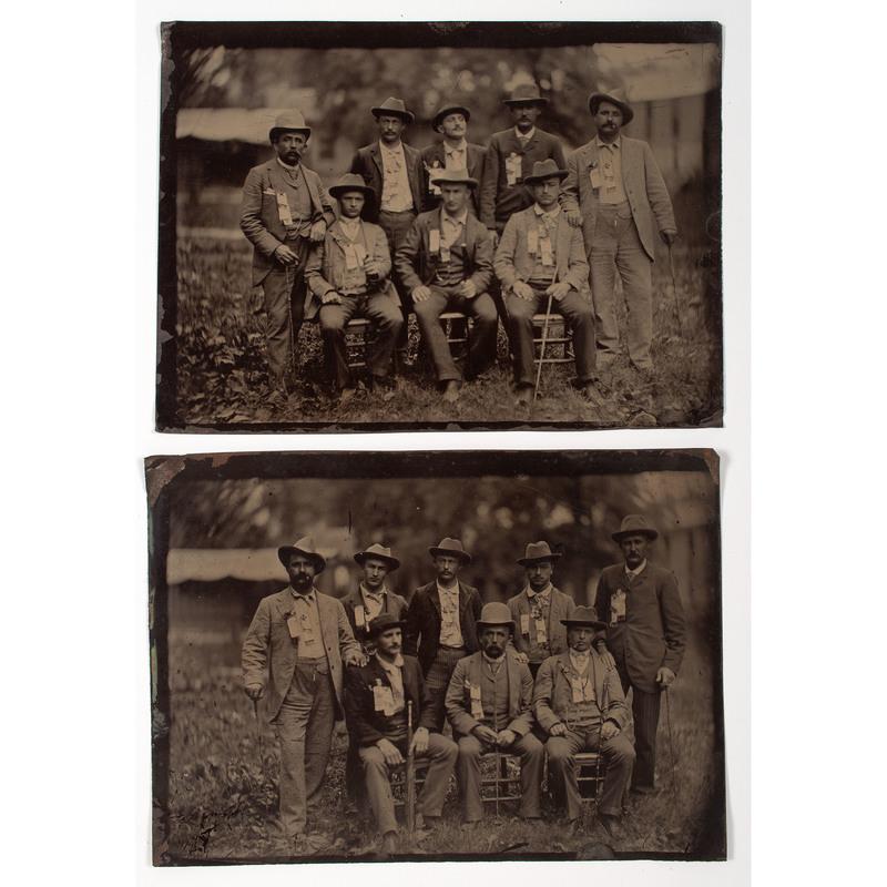 Pair of Tintypes Showing a GAR Reunion of Civil War Veterans