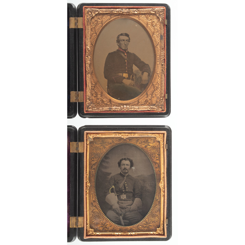 Two Quarter Plate Images of Civil War Soldiers, One with Sword