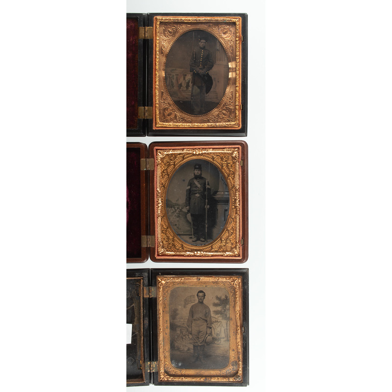 Trio of Quarter Plate Images of Civil War Soldiers, Two Armed with Rifles