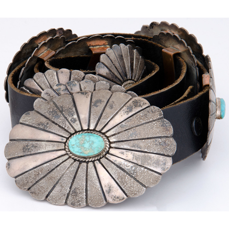 Navajo Sterling Silver and Turquoise Concha Belt, From the Collection of Robert B. Riley, Urbana, IL.