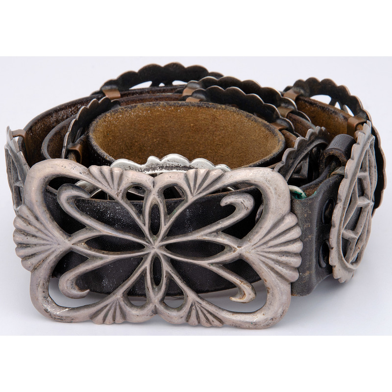 Navajo Sand Cast Silver Concha Belt, From the Collection of Robert B. Riley, Urbana, IL