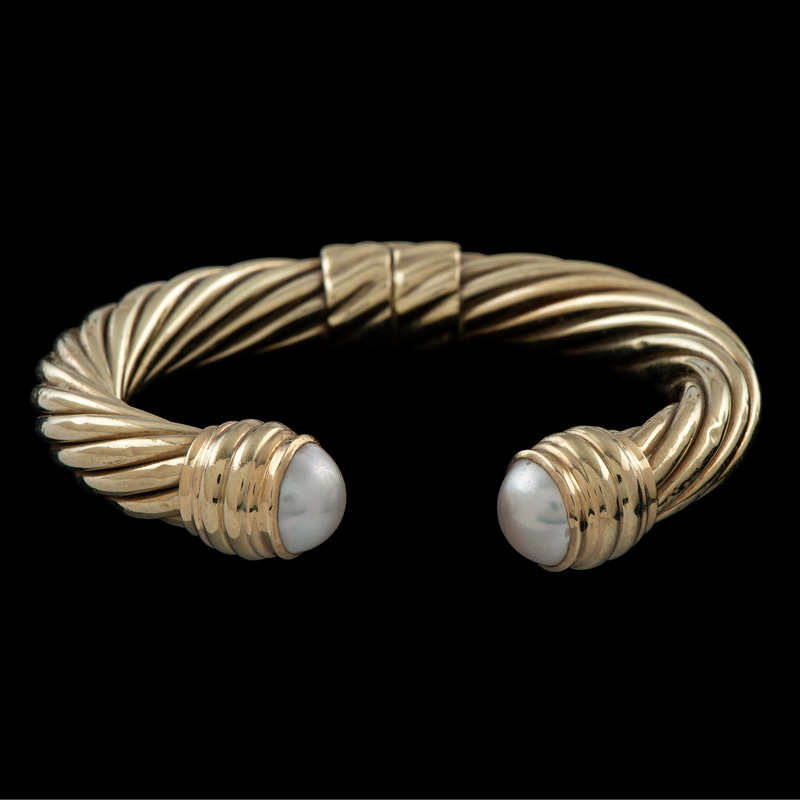 David Yurman 14k Gold Mabe Pearl Cable Cuff Bracelet