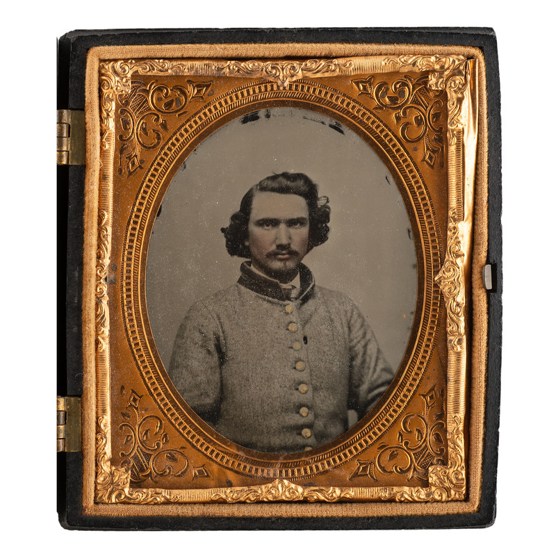 Sixth Plate Ambrotype of Genteel Confederate Soldier from Georgia