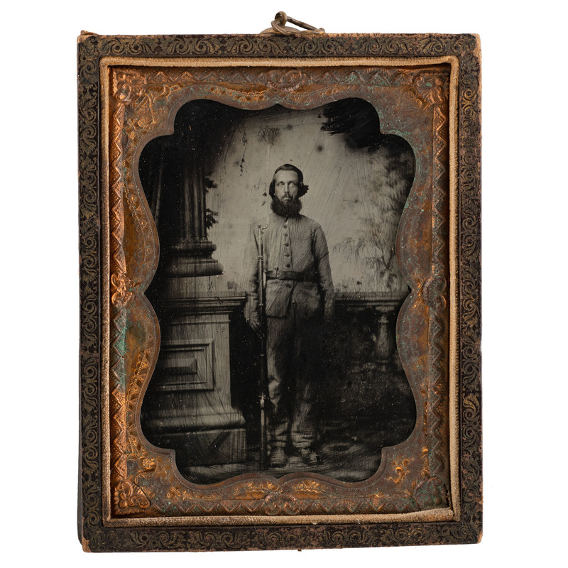 Quarter Plate Ruby Ambrotype of Armed Infantry Private Attributed to Quinby, Charleston, SC