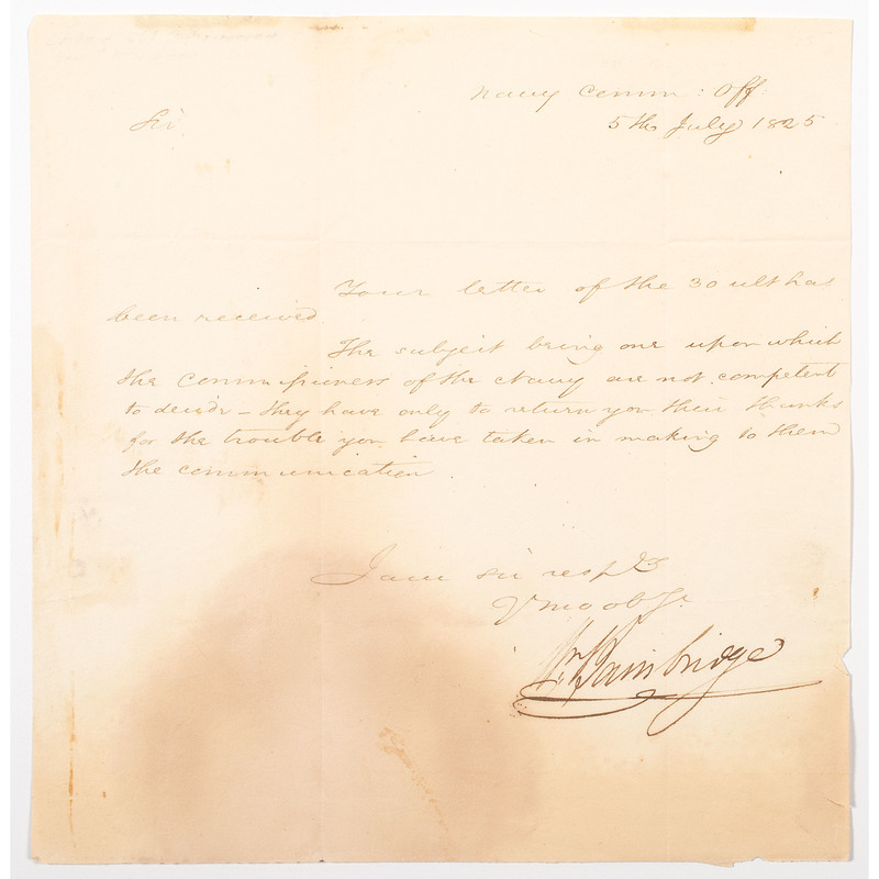 War of 1812 Commander of the USS Constitution, William Bainbridge, Manuscript Letter Signed