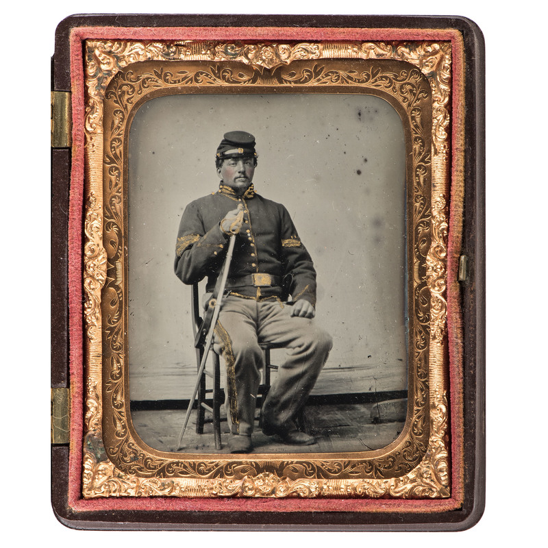 Sixth Plate Ambrotype of a Union Cavalry Trooper Armed with a Saber