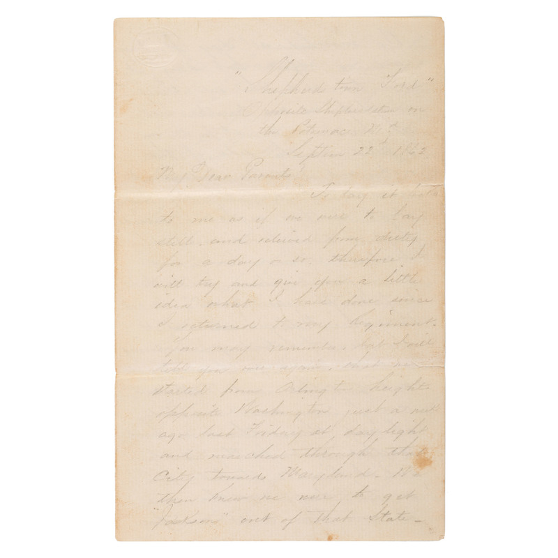 Expository Antietam Battle Letter, Written by Sergeant Frank M. Kelly, Co. H, 44th New York Infantry, 1862