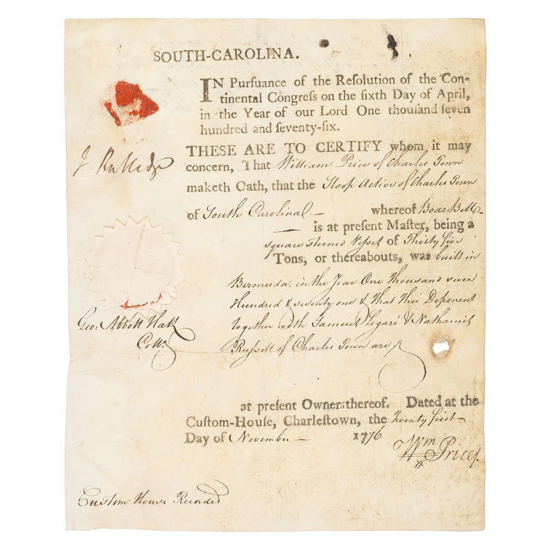 Ship's Register Signed by President of South Carolina John Rutledge, 1776