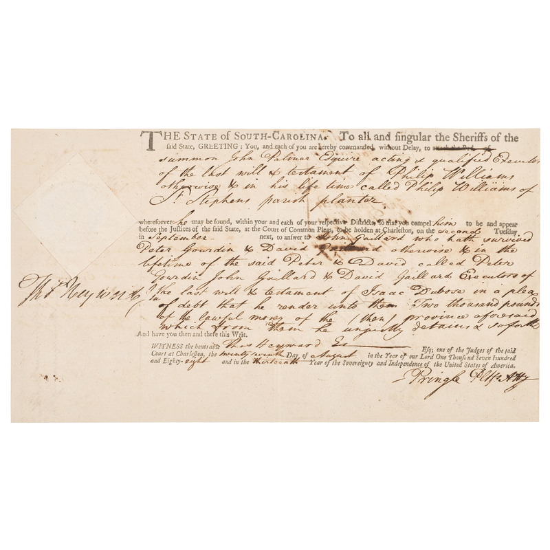 Sheriff's Summons Signed by Thomas Heyward, Jr., Declaration of Independence Signatory, 1788