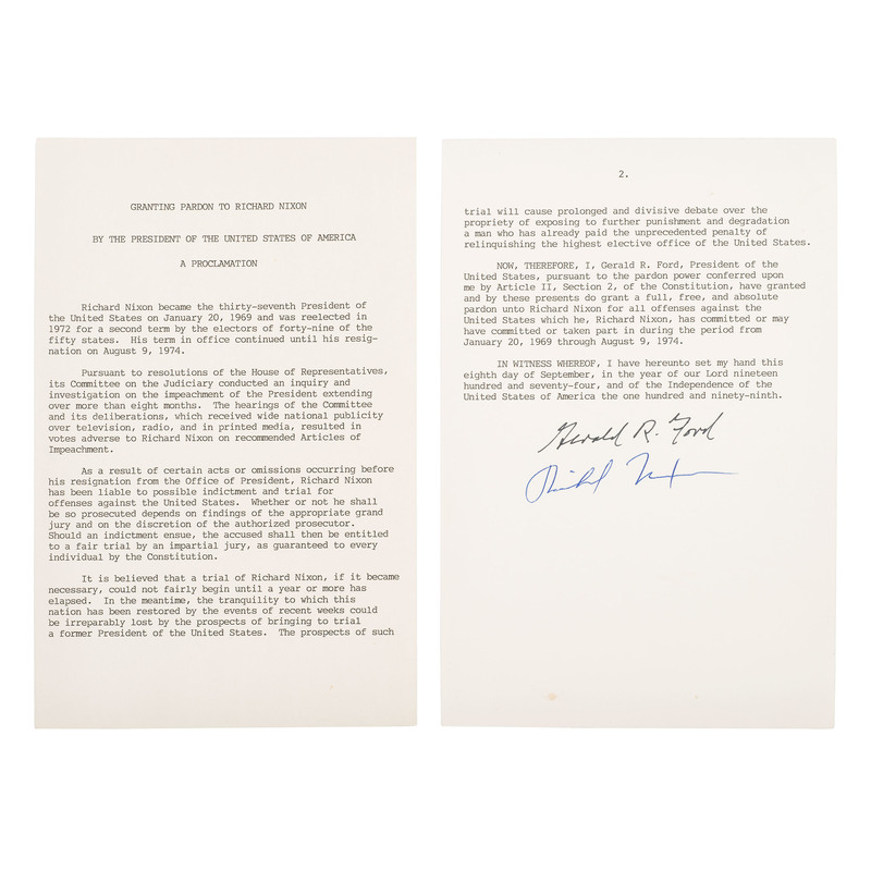 Richard Nixon and Gerald Ford Signed Presidential Pardon