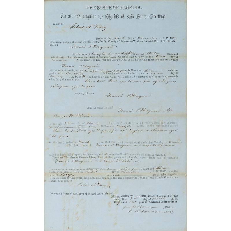 Florida Personal Property Writ Concerning Slaves, 1858