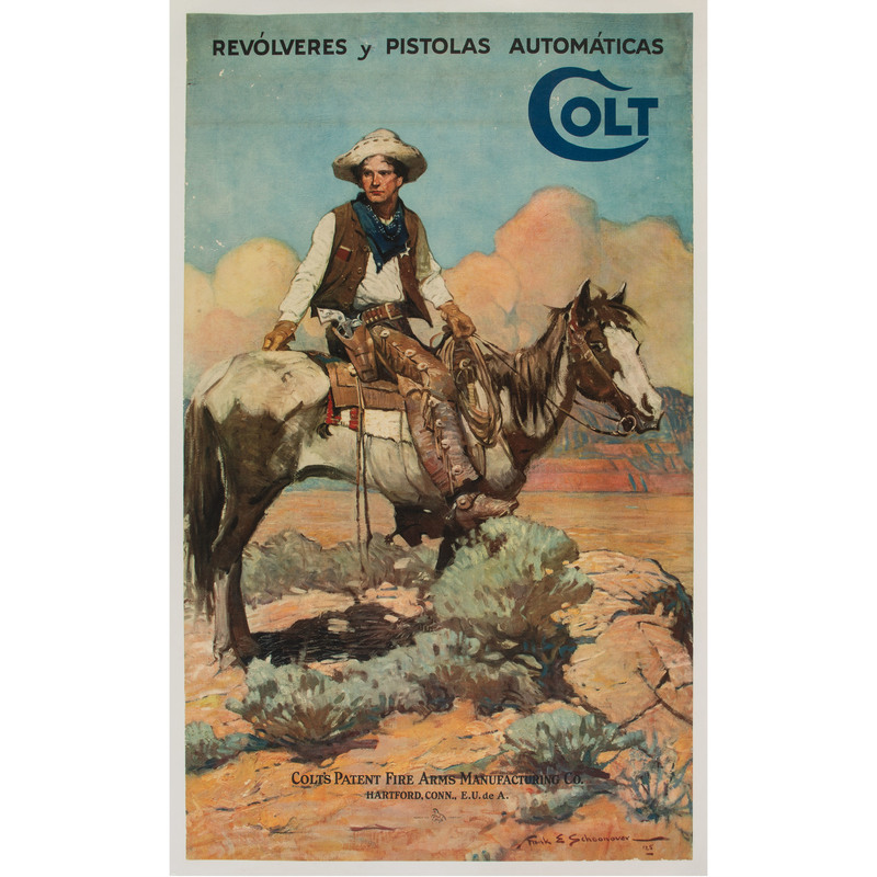 1926 Colt Firearms Spanish Advertisement Poster after Frank Schoonover Tex and Patches