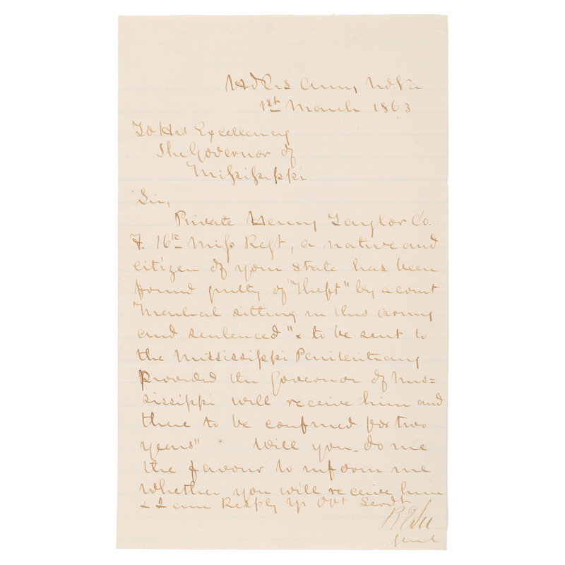 Robert E. Lee, War-Date ALS Concerning the Sentencing of a Convicted Soldier, 1863