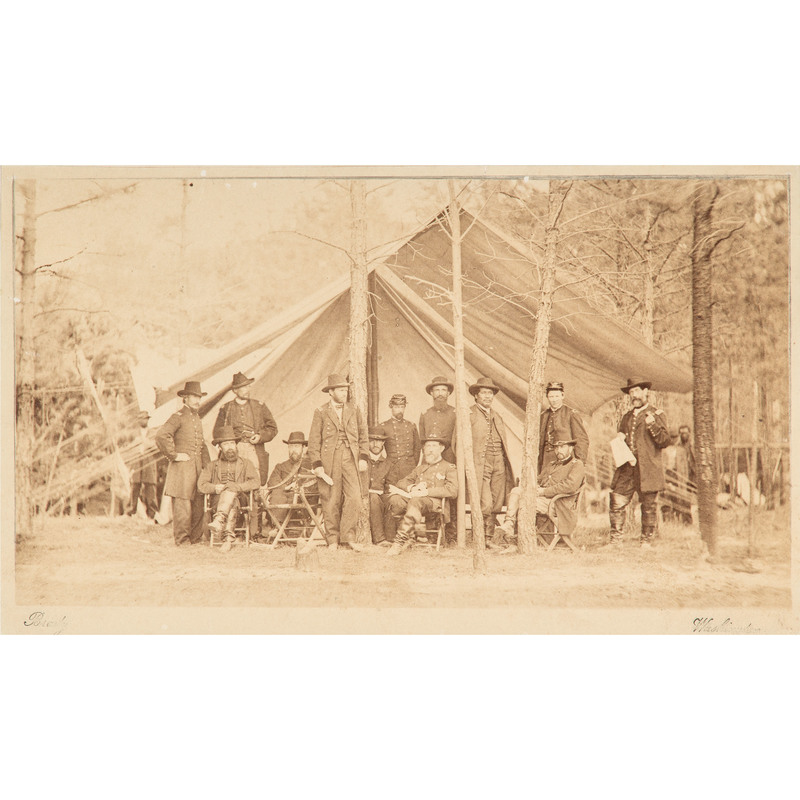 General Ulysses S. Grant and Staff, Albumen Photograph Taken at Cold Harbor, Virginia, May 1864