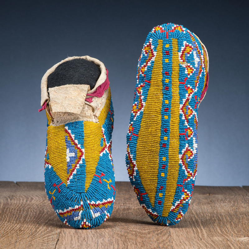 Sioux Fully Beaded Hide Moccasins