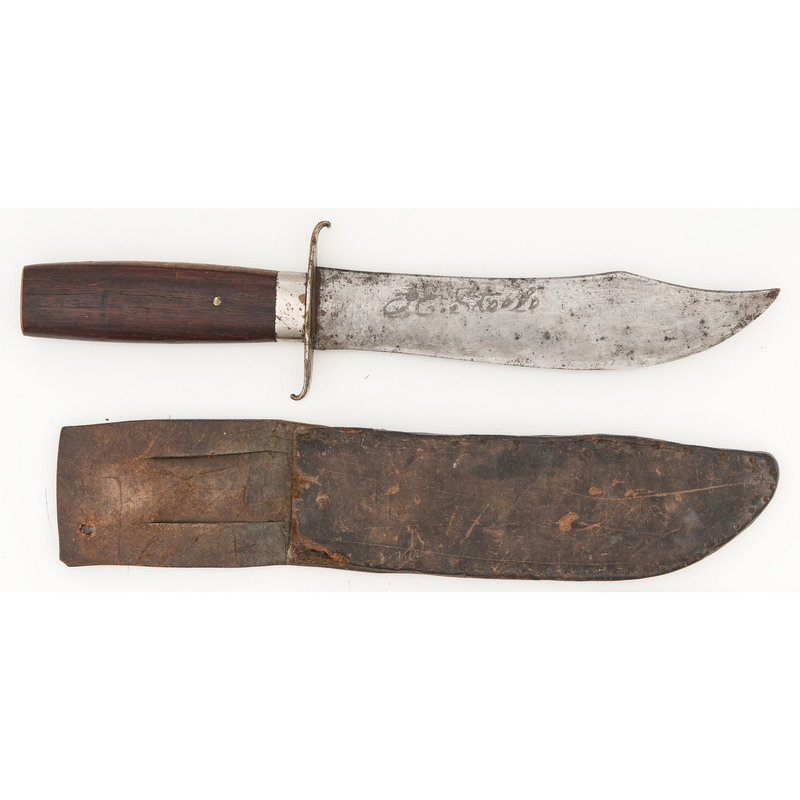 Etched Bowie Knife with Scabbard