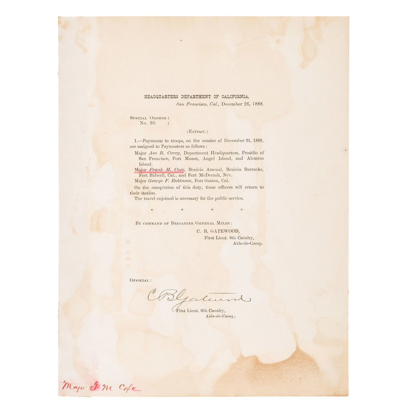 Charles Gatewood Signed Document as First Lieutenant, 6th Cavalry, Dec. 26, 1888