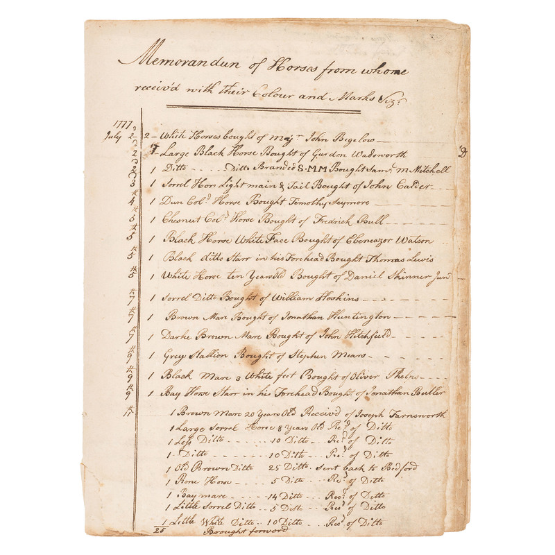 Detailed 10pp Memorandum Listing Soldiers and Others Who Sold Horses to the Continental Army for Use by the Light Dragoons, July 1777- March 9, 1778