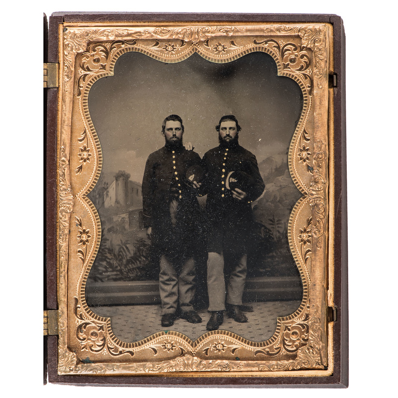 Two Civil War Half Plate Tintypes of Brothers-in-Law from Co. A, 12th Wisconsin Infantry, and Members of their Regiment