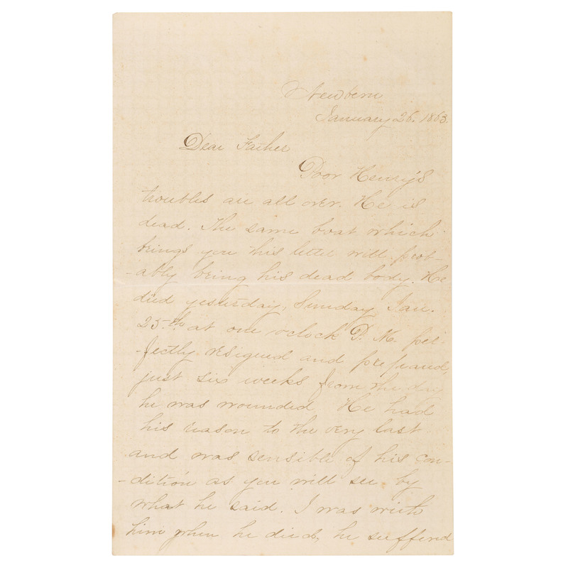 Civil War Letter Concerning the Death of Henry W. Clarke, Co. B. 10th Connecticut, Written by His Brother, Plus
