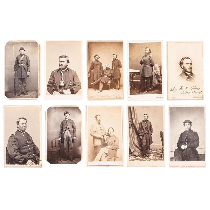 Civil War CDV Album Containing Portraits of Union Generals and Soldiers, Many From Michigan Regiments, Plus Outdoor Scenes Incl. Cannon