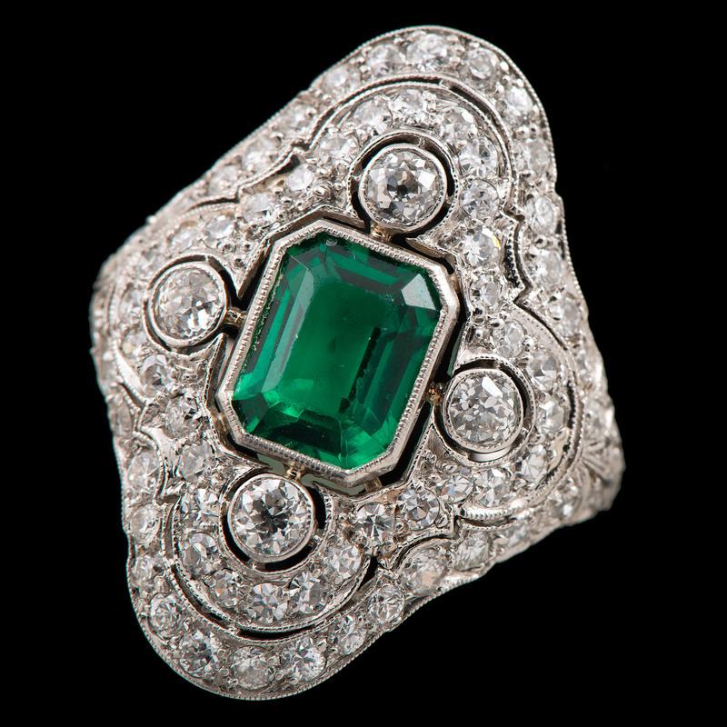 Platinum Diamond and Glass Ring