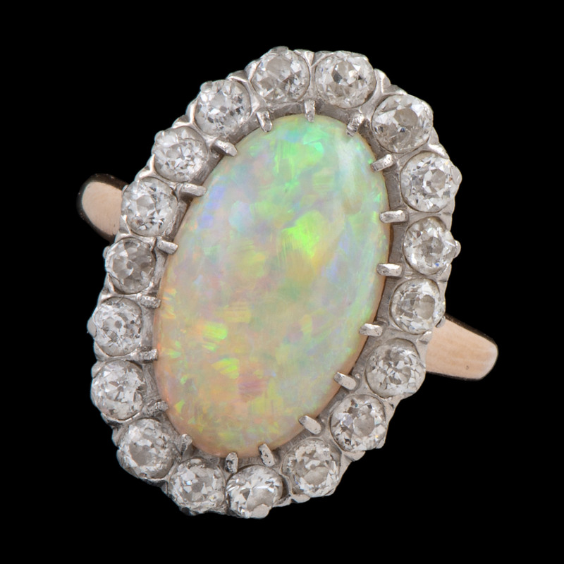 Platinum and Gold Opal and Diamond Ring