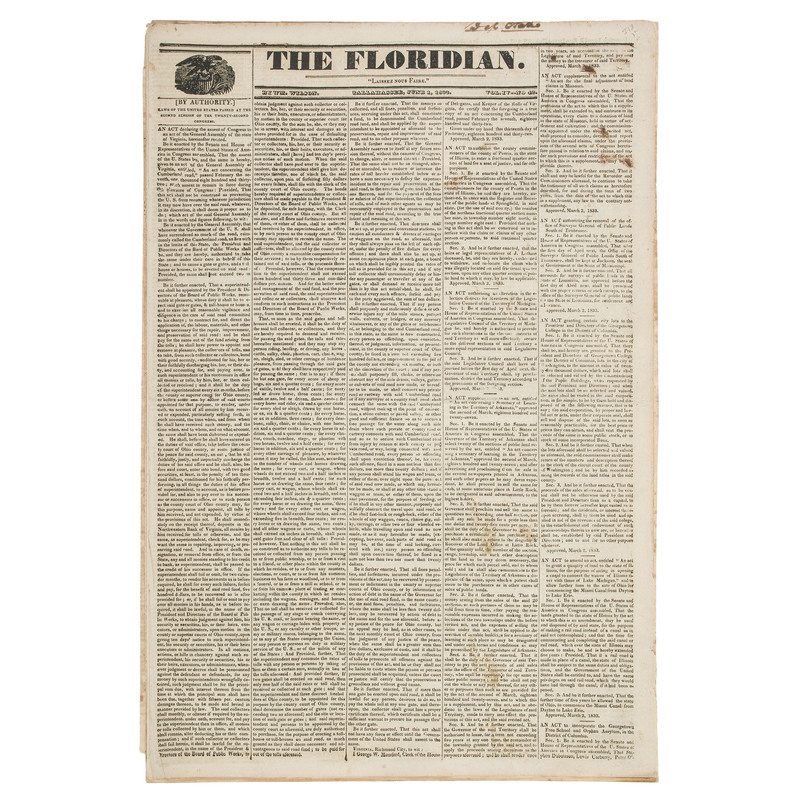 Trio of Florida Territory Newspapers Containing News Relative to Slavery, Incl. Runaway Slave Advertisements