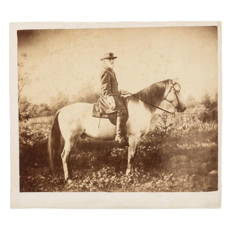 Robert E. Lee on Traveller, Albumen Photograph