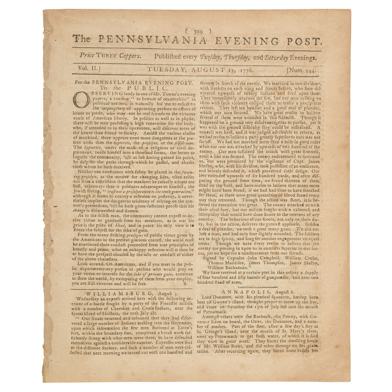 Revolutionary War Newspaper Recruiting Pennsylvanians for a Flying Camp of Soldiers
