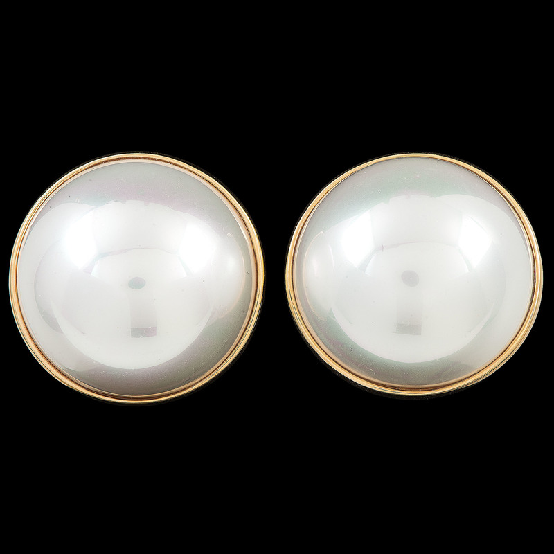 14k Gold Mabe Pearl Earrings