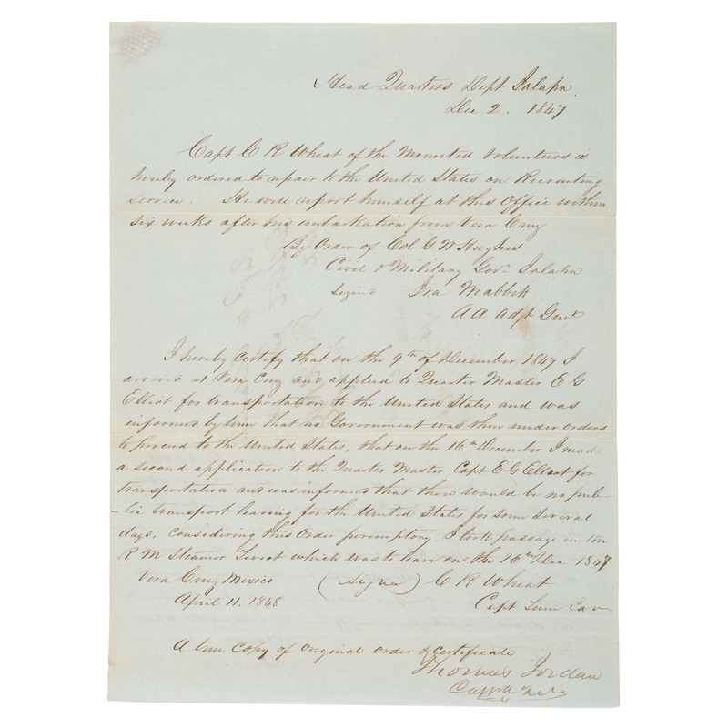 Signature of Thomas Jordan, on Document Pertaining to Chatham Roberdeau Wheat and Signatures of 9 Other Confederate Generals, Plus