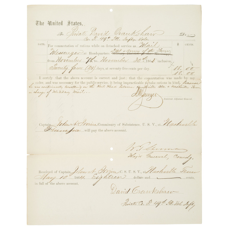 William T. Sherman, DS Regarding Rations for the 49th Illinois at Nashville