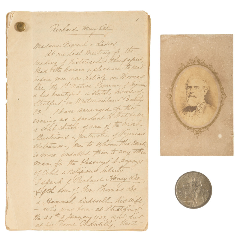 Items Associated with Robert E. Lee, Including Rare CDV with Havana Backmark