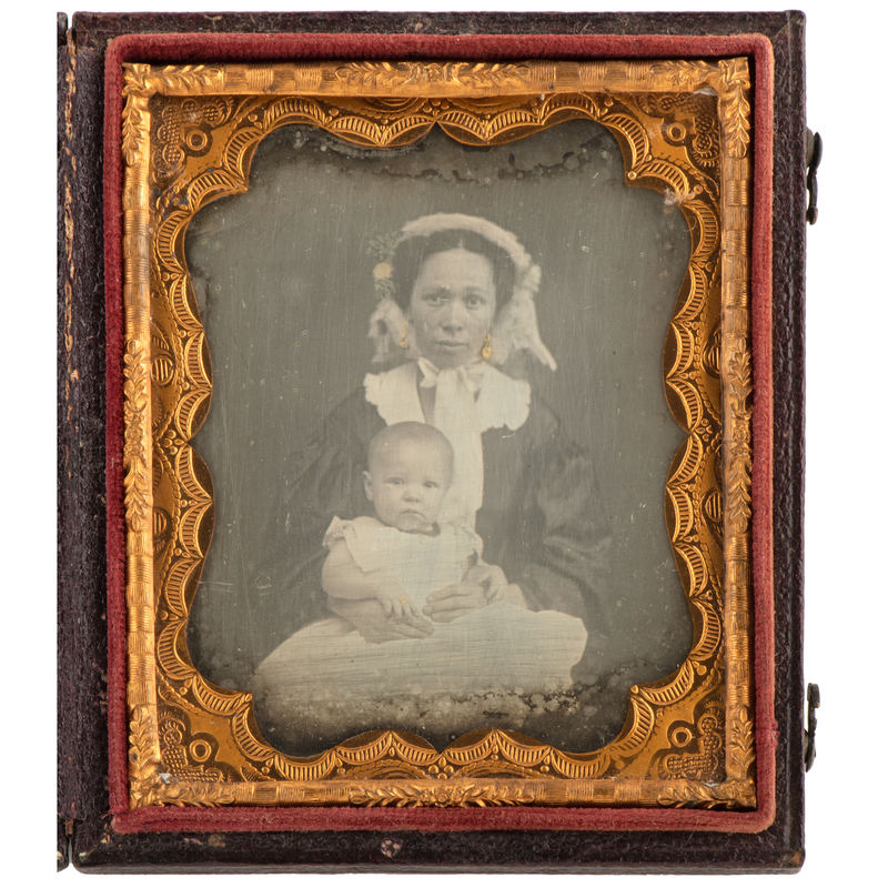 Sixth Plate Daguerreotype of African American Woman and Child