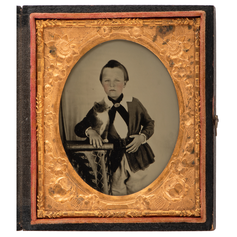 Exceptionally Clear Sixth Plate Ambrotype of a Boy with his Cat