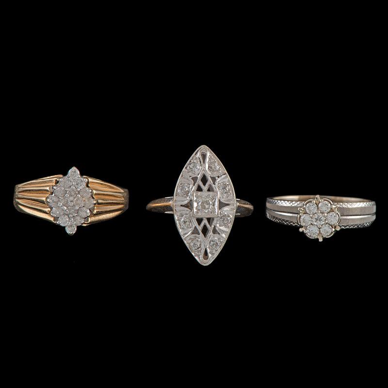 14k Gold Diamond Rings, Lot of Three