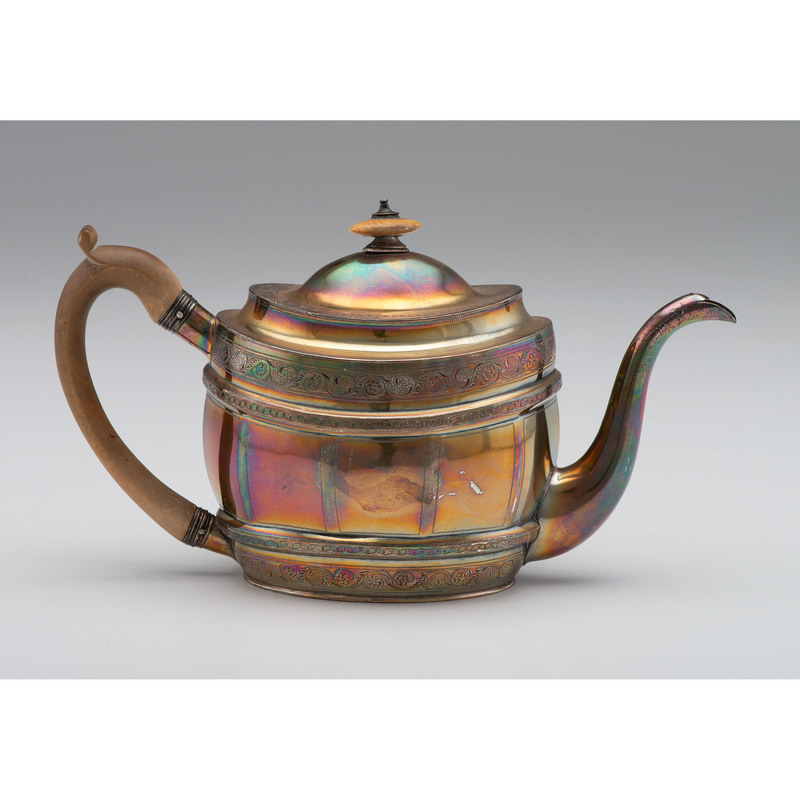 George III Sterling Teapot with Wooden Handle