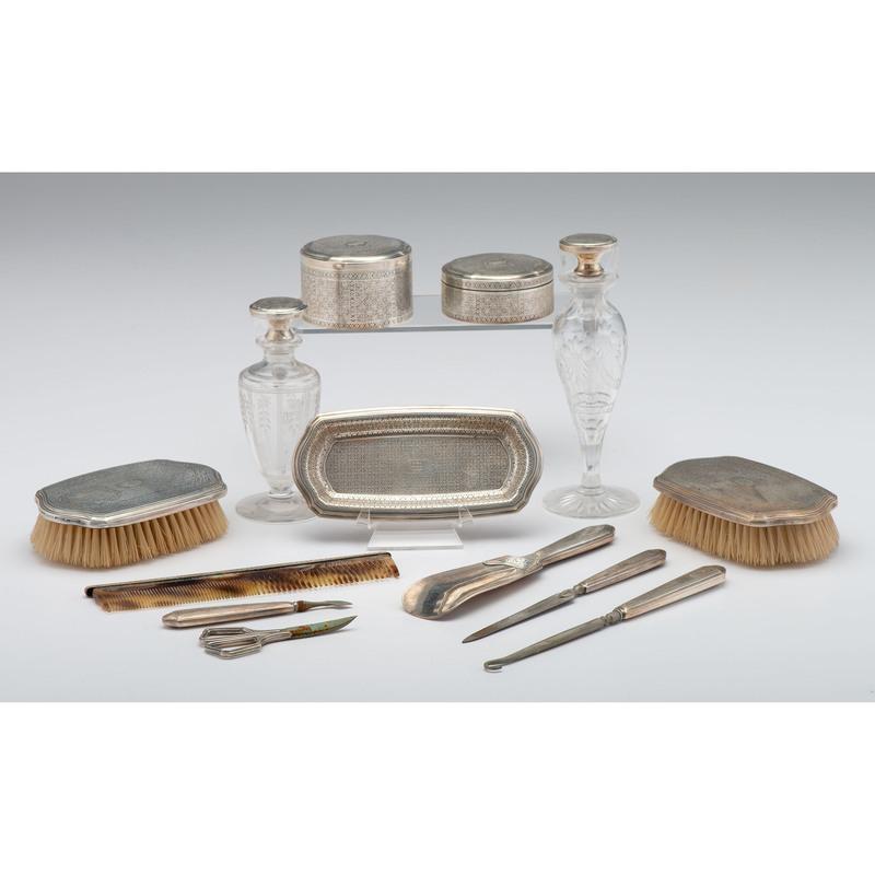 Tiffany & Co Sterling-Mounted Dresser Set