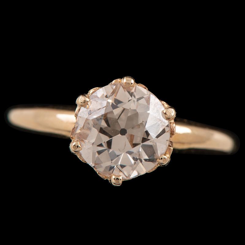 14k Gold Old European Cut Diamond Ring