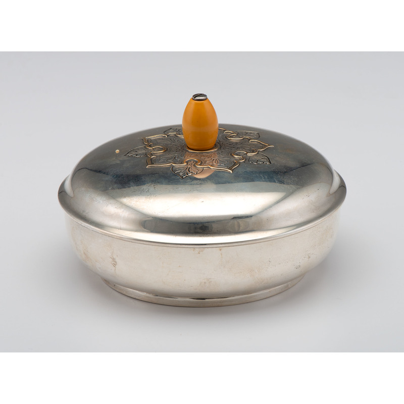 Sterling Covered Bowl with 14k Applied Decoration