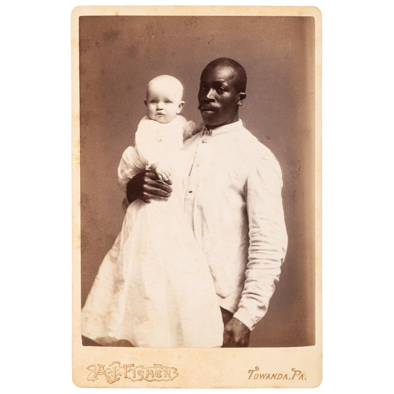 A.J. Fisher Cabinet Card of Black Butler Holding White Baby, ca 1885